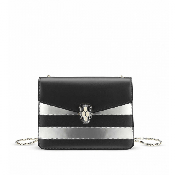 Serpenti Forever striped metallic-leather shoulder bag